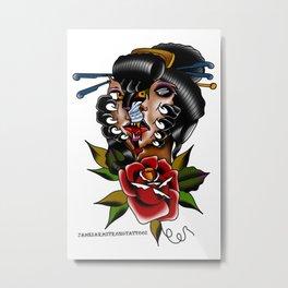 Geisha cat Metal Print