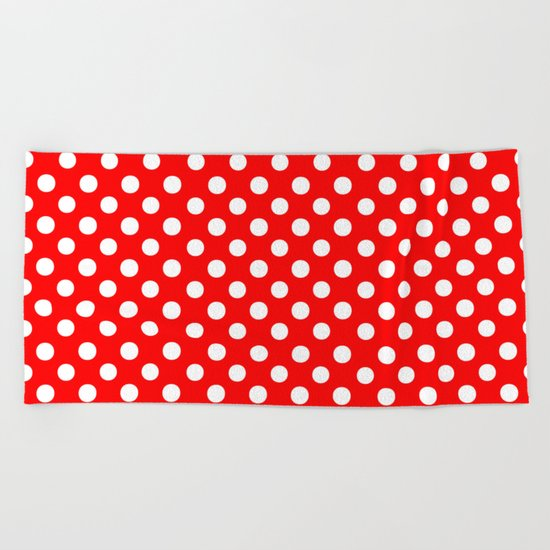 Polka Dots (White/Red) Beach Towel