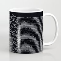 alisa burke Mugs featuring Unknown Radio Waves - Unknown Pleasures by Alisa Galitsyna