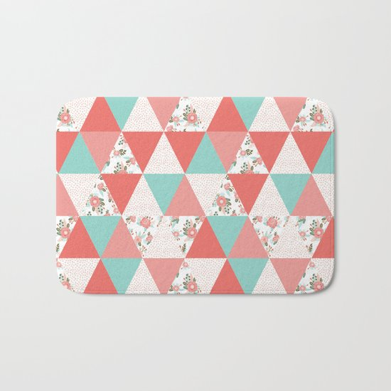 Triangle quilt pattern cute florals dots cheater quilt blanket quilter must have cute baby shower  Bath Mat