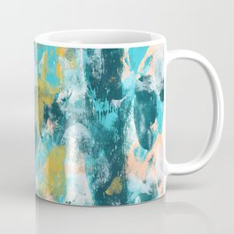 026.3: a vibrant abstract design in teal peach and yellow by Alyssa Hamilton Art Coffee Mug
