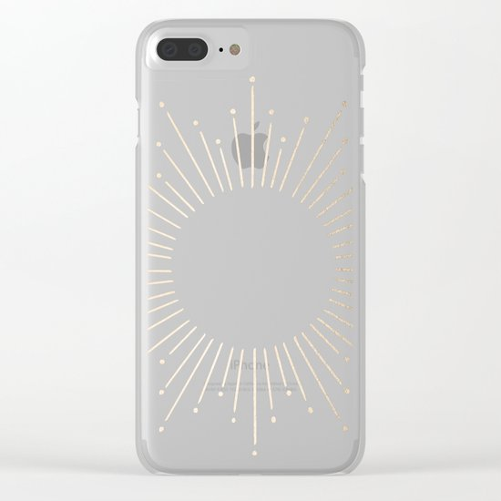 Simply Sunburst in Deep Coral Clear iPhone Case