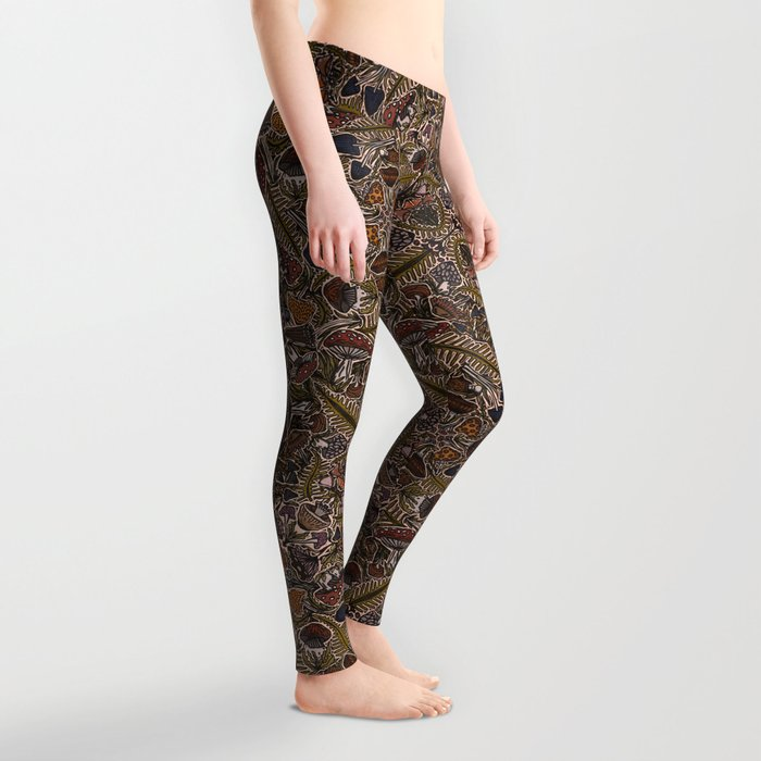 Funghi & Fern Forest, Fall Colors , Foraging for Woodland Mushrooms Brown, Orange Purple Leggings
