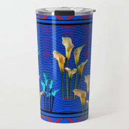 Blue Art White Calla Lilies Red Patterns Travel Mug