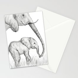 Mother and Baby Lepehant Stationery Cards
