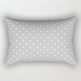 Small White Polka Dots On Light Grey Background Rectangular Pillow