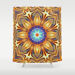 Kaleidoscope abstract with a flower shape and tribal patterns Shower Curtain