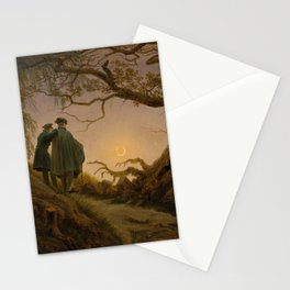 Two Men Contemplating the Moon by Caspar David Friedrich Stationery Cards