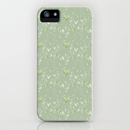 Mint green watercolor hand painted floral leaves iPhone Case