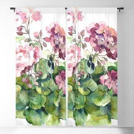 Watercolor pink geranium flowers aquarelle Blackout Curtain