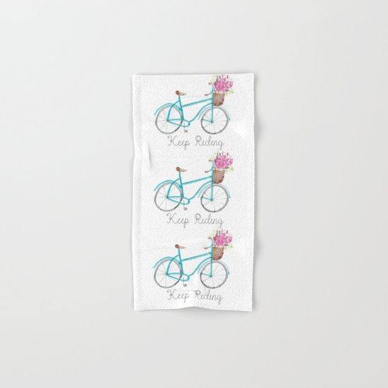 Keep Riding Bike, Watercolor Bike Hand & Bath Towel
