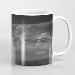 Lighthouse and Sailboat under moonlight Coffee Mug