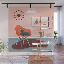 Midcentury Coral Decor With Black Cat And Gold Fish Wall Mural