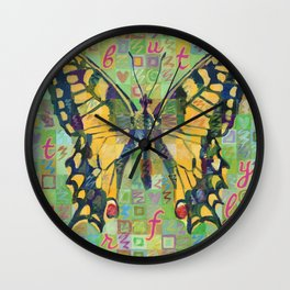 Butterfly (Swallowtail On Green) Wall Clock