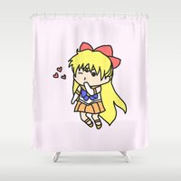 sailor venus Shower Curtains featuring Sailor Venus Chibi by CatBread