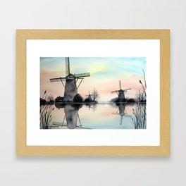 Windmills at dawn Framed Art Print