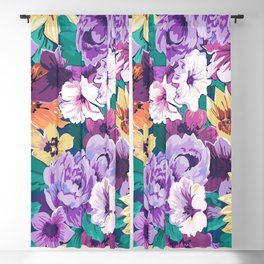 Colorfu summer flowers collage pattern Blackout Curtain
