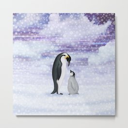 emperor penguins in the snow Metal Print
