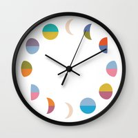 moon phases Wall Clocks featuring Moon phases by Helene Michau