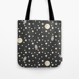 Space - Stars Moon and Astronauts on black Tote Bag