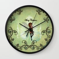 elf Wall Clocks featuring Christmas elf by nicky2342