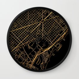 Black and gold Barcelona map Wall Clock