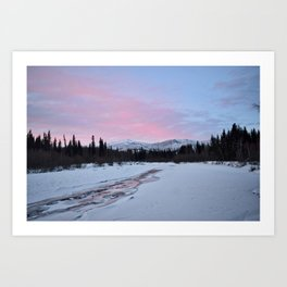 Pink Winter skies in Fairbanks Art Print