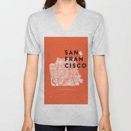 San Francisco Map 04 Unisex V-Neck