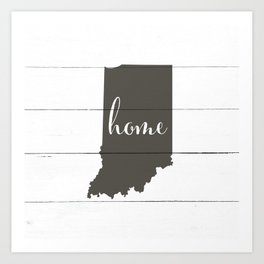 Indiana is Home - Charcoal on White Wood Art Print