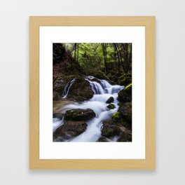 Magical waterfall in gorge Hell Framed Art Print