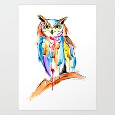 watercolor owl Art Print