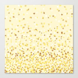 Floating Confetti - Yellow and Gold Canvas Print