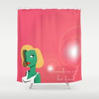 monroe Shower Curtains featuring Monroe by Sara Brownsword