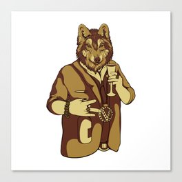 Sophisticated Wolf - having a drink Canvas Print