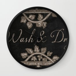 Wash and Dry Laundry Sign Wall Clock
