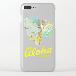 Aloha, Hawaii (Blue) Clear iPhone Case