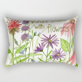 Nature Smiles with Flowers Watercolor Illustration Rectangular Pillow