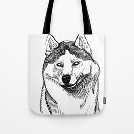 Siberian Husky Portrait Tote Bag