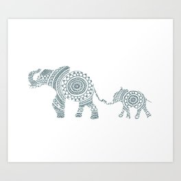 Mama Elephant Walking Baby Elephant Circle Art Art Print