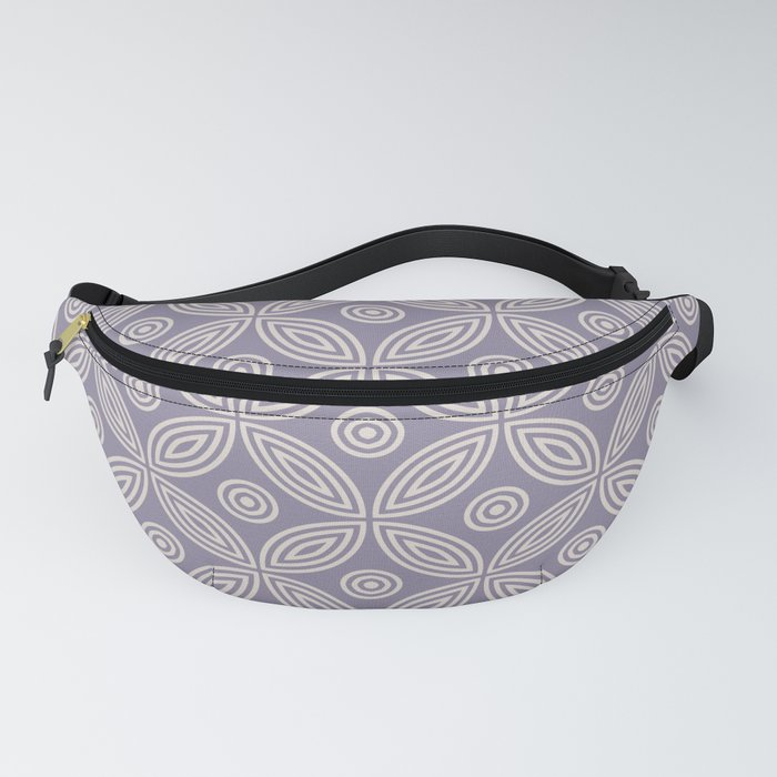 Geometric Concentric Flower Pattern 424 Lavender Grey and Beige Fanny Pack