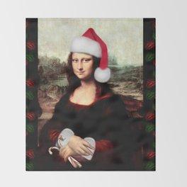 Mona Lisa Wearing a Santa Hat Throw Blanket