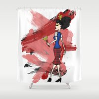 evil queen Shower Curtains featuring Disneyland Queen of Hearts - Evil Relations by Joey Noble