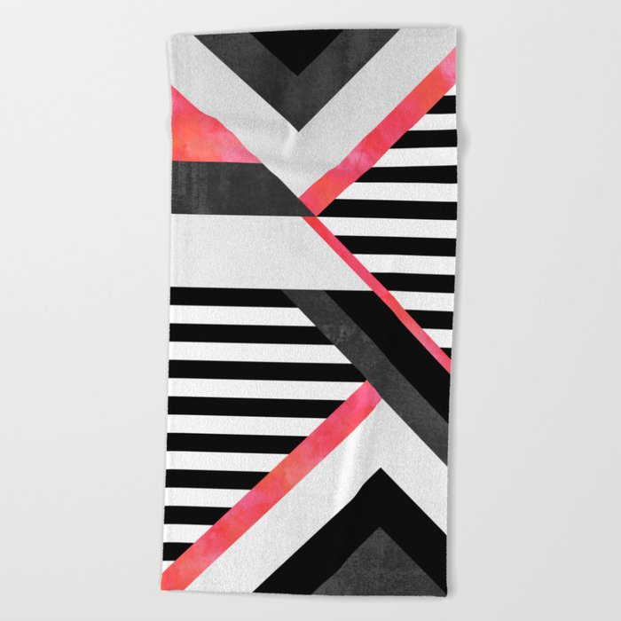 Stripe Combination / Pink Beach Towel