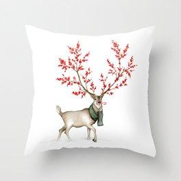 Rudolph the Winterberry Antler'd Reindeer Throw Pillow