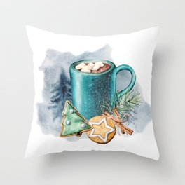 Cocoa with cookies and marshmallow Throw Pillow