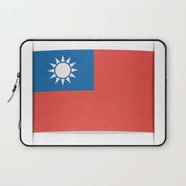 Flag of Taiwan.  The slit in the paper with shadows. Laptop Sleeve