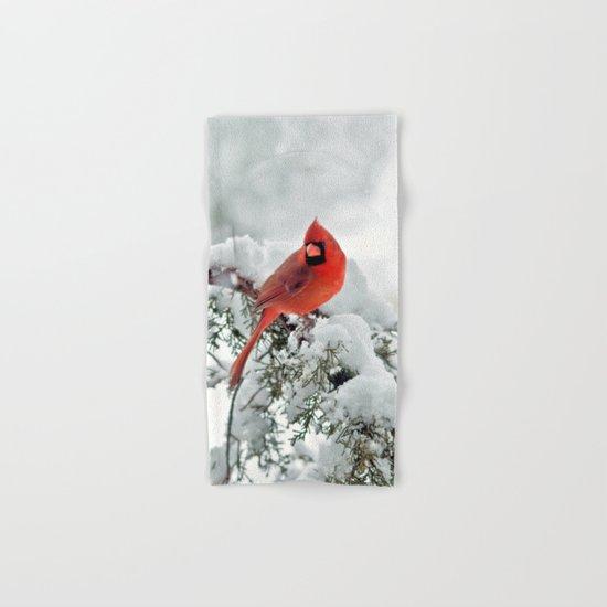 Cardinal on Snowy Branch Hand & Bath Towel