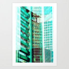 Multi Aqua Glass Buildings Art Print