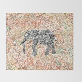 Tribal Paisley Elephant Colorful Henna Floral Pattern Throw Blanket