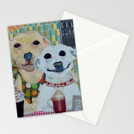 What a pear! Two dogs with fancy coffee. Stationery Cards